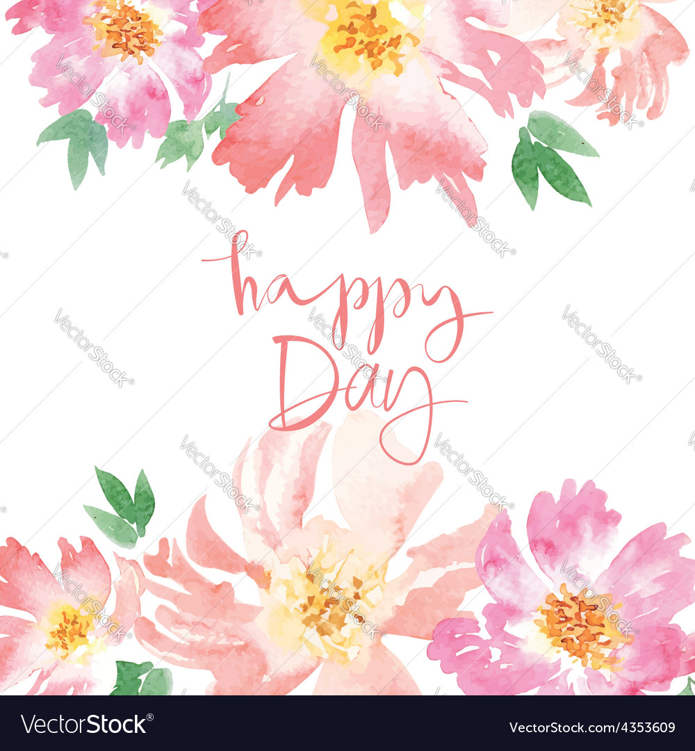 Watercolor Spring Flowers Royalty Free Vector Image
