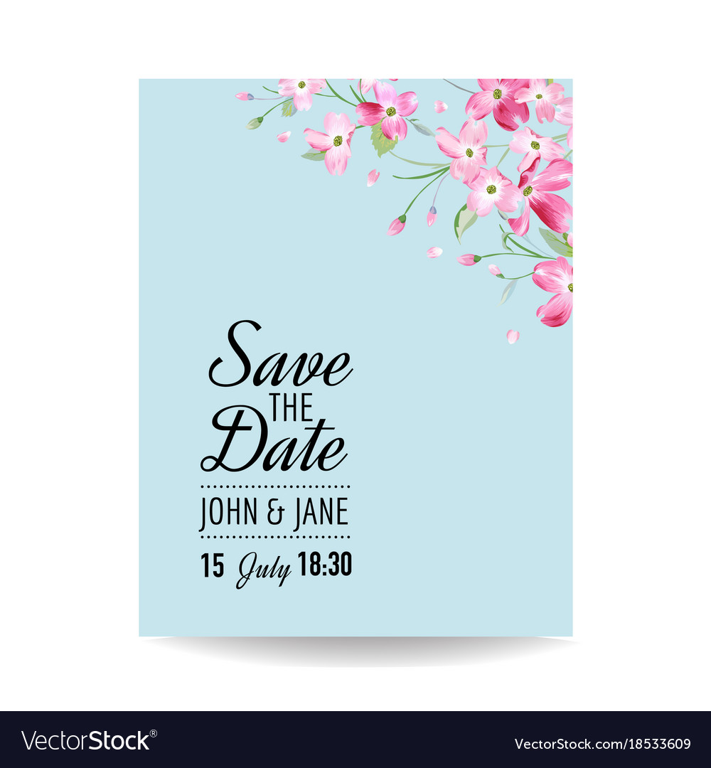 Wedding invitation spring cherry flowers