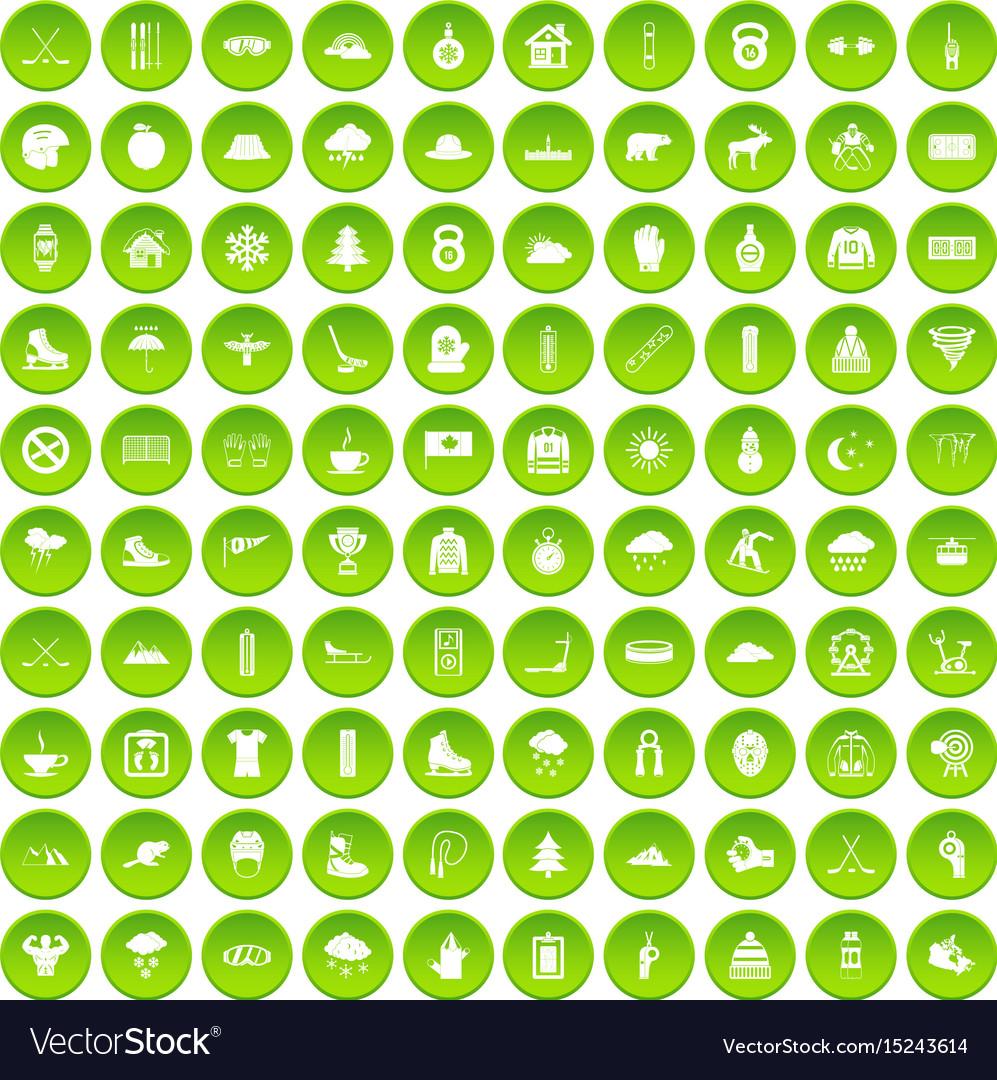 100 winter holidays icons set green circle