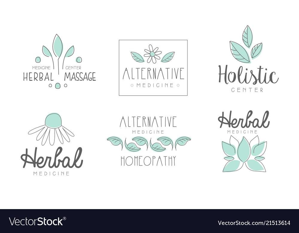 Alternative medicine logo design set herbal