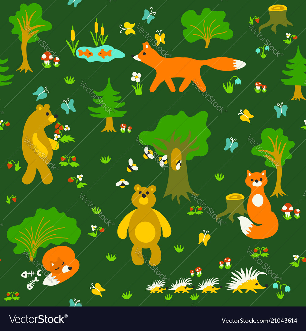 Animals in forest seamless pattern vector image