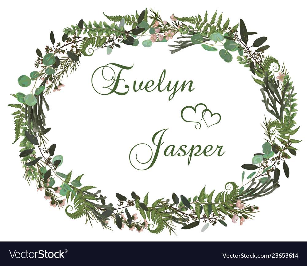 Beautiful leafy frame wreath of eucalyptus