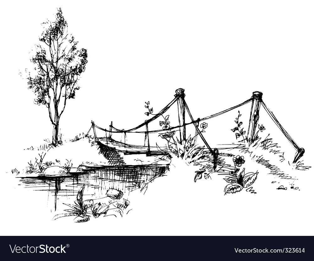 Bridge over river vector image