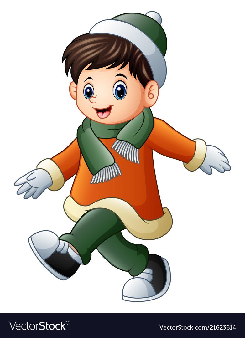 cartoon boy in winter clothes walking royalty free vector
