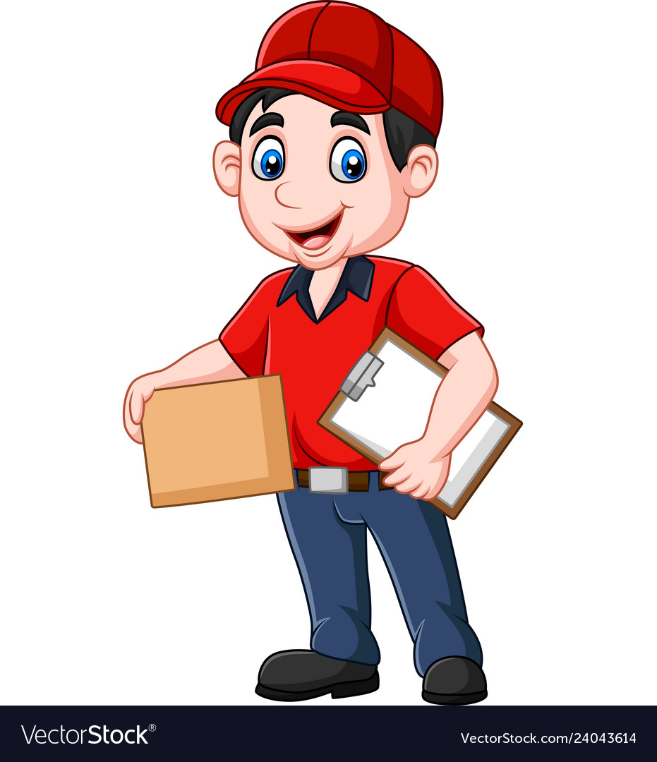 Cartoon delivery courier holding clipboard and car