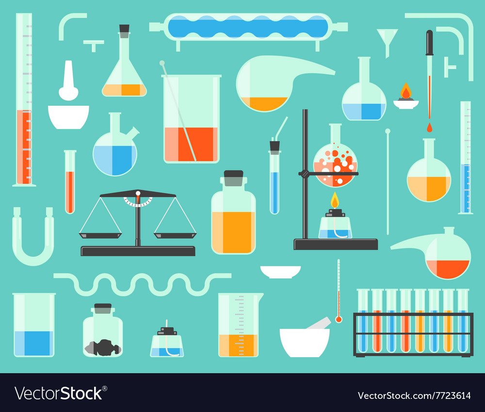 Chemical laboratory equipment vector image