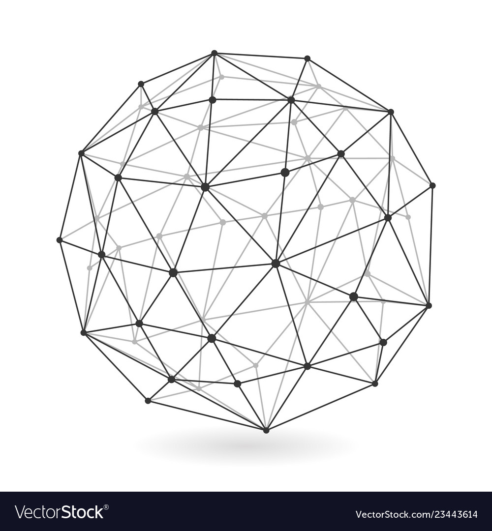 Geometric low polygonal sphere abstract design