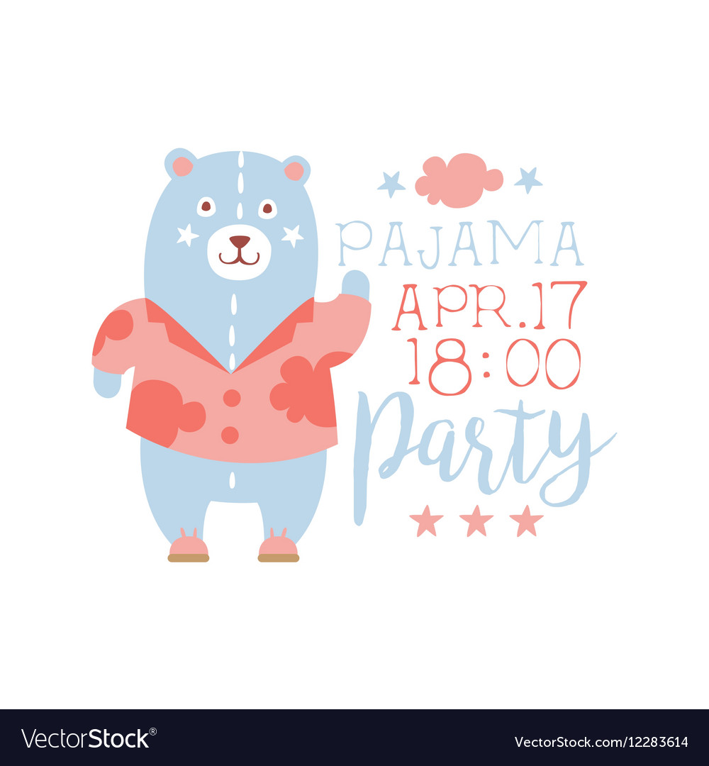 girly pajama party invitation card template with vector image on vectorstock
