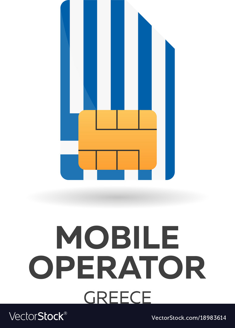 Greece mobile operator sim card with flag