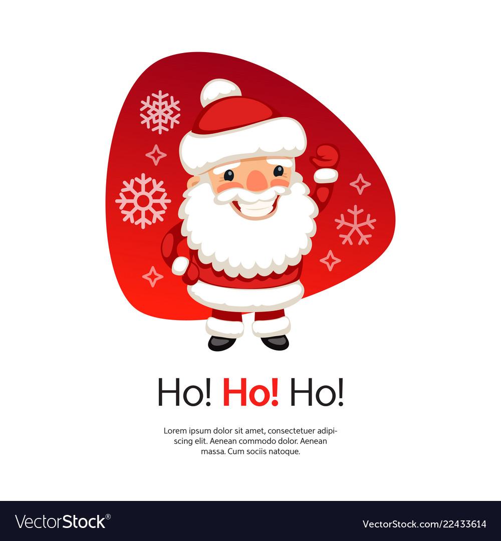 Ho ho christmas card with santa claus