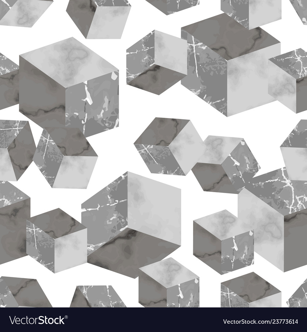 Marble luxury 3d geometric seamless pattern
