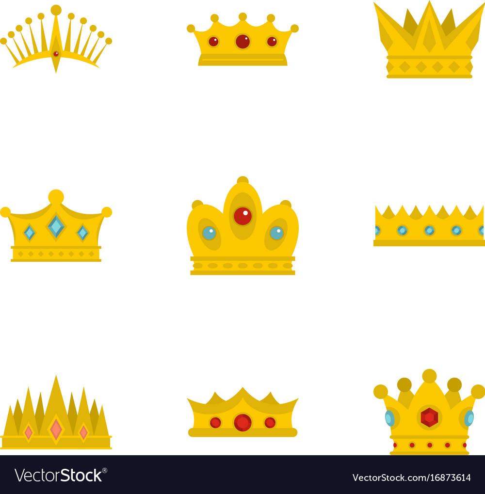 Medieval crown icon set flat style