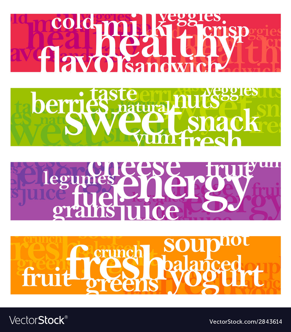 nutrition words banner set royalty free vector image