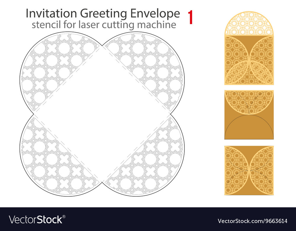Rounded Envelope template For Laser cut vector image