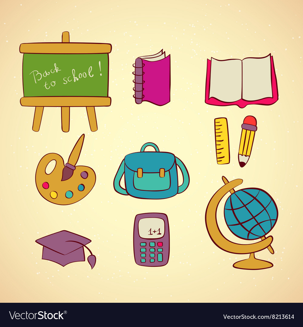 School icons set vector image