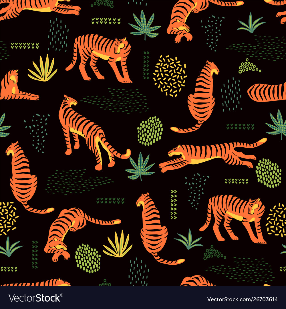 Seamless exotic pattern with tigers and abstract