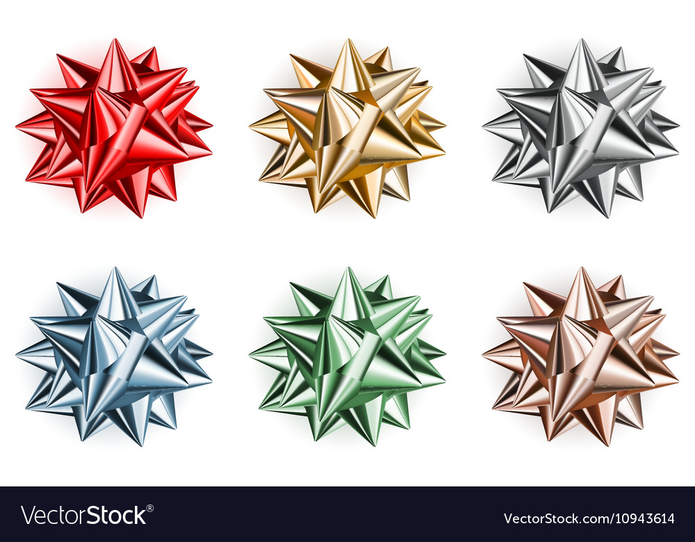 Set of beautiful big bows vector image