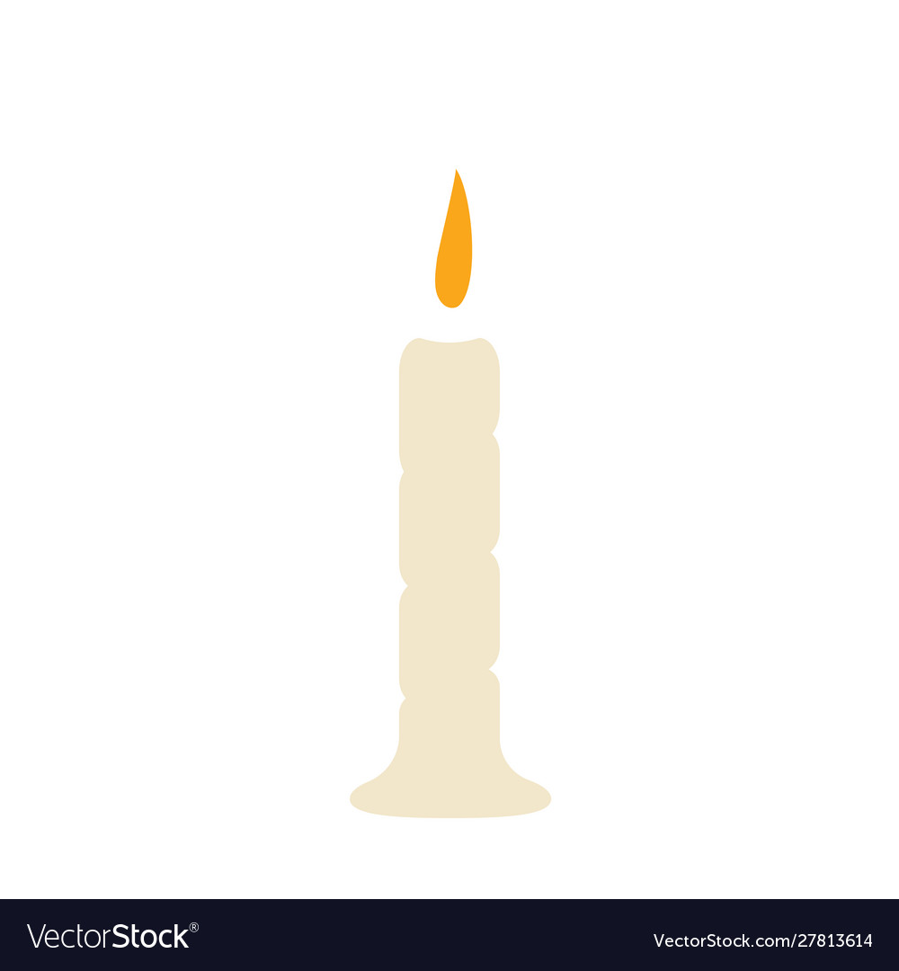 Single candle with fire on a white background
