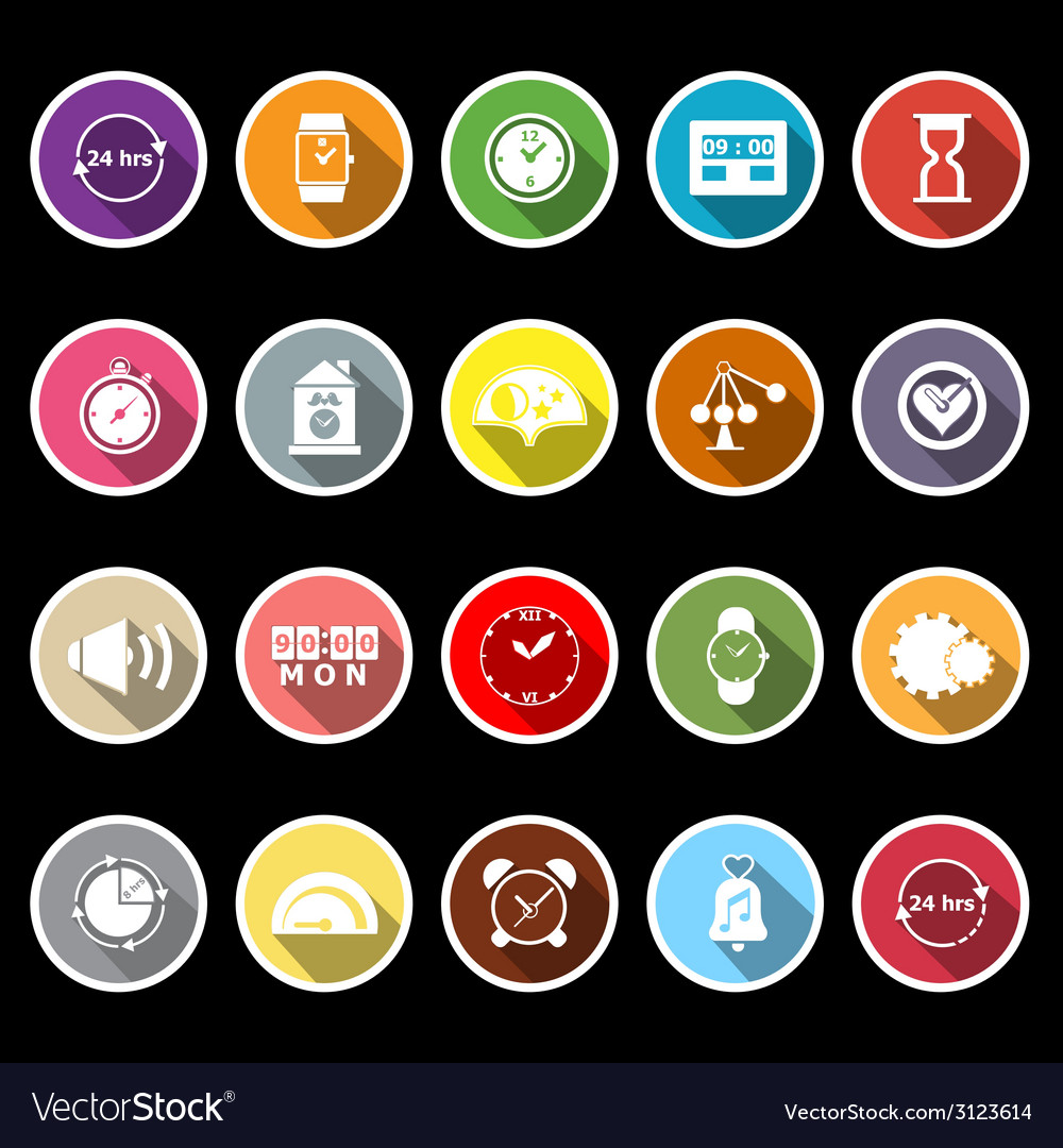 Time related flat icons with long shadow vector image