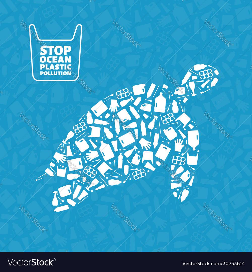 Turtle plastic trash planet pollution concept