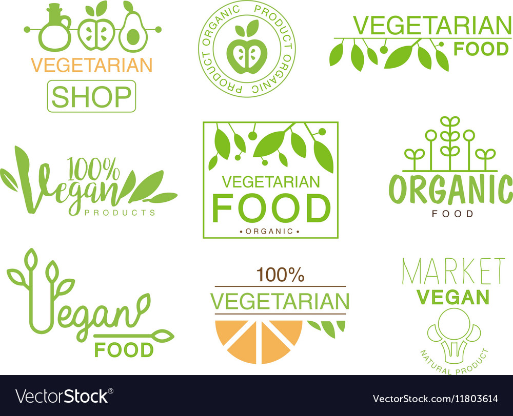 vegan natural food set of template shop logo signs