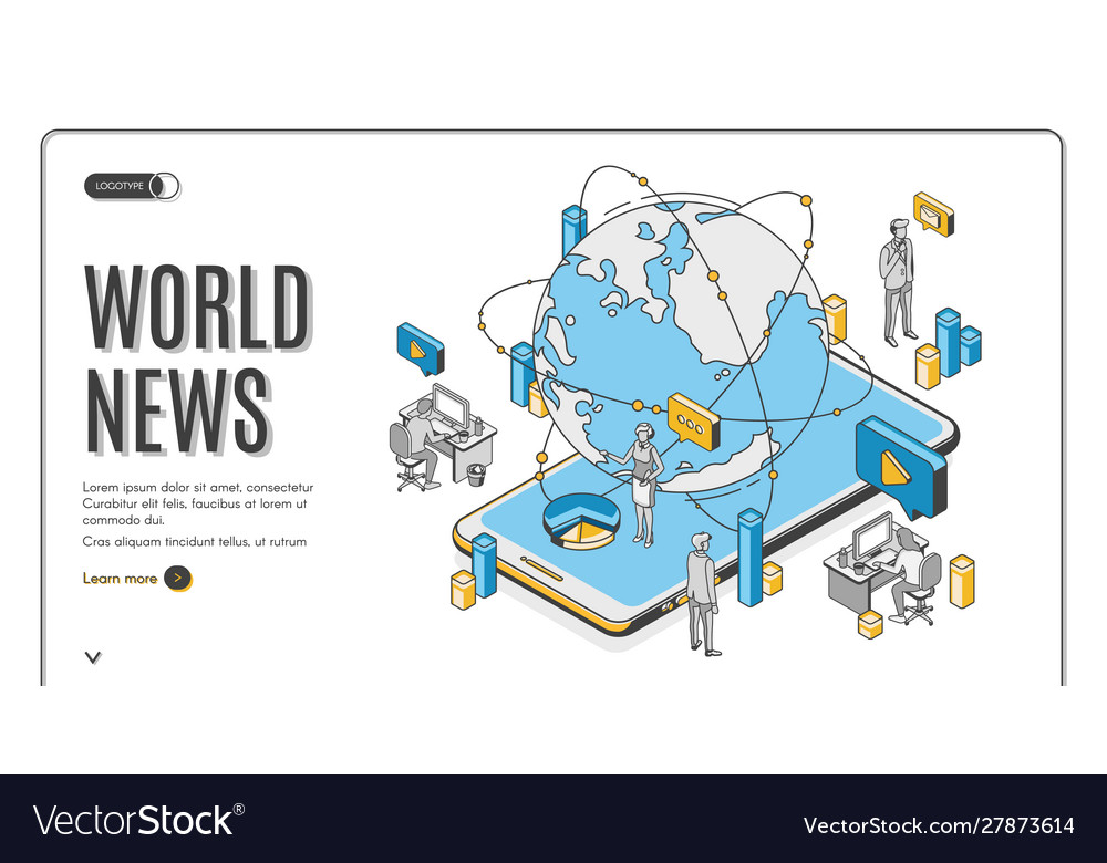 World news isometric landing page media business