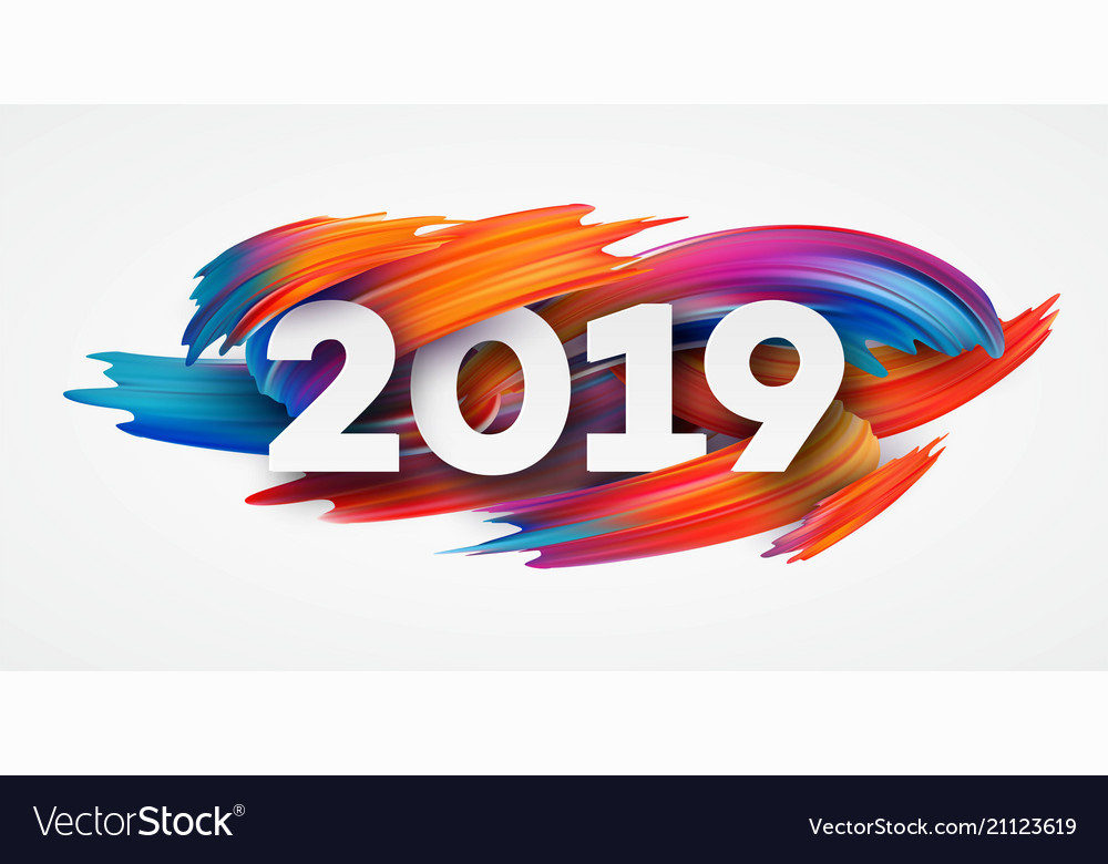 2019 new year on background a colorful