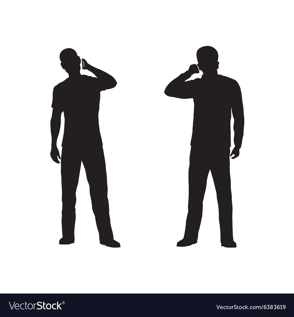Black silhouette of the person with phone vector image