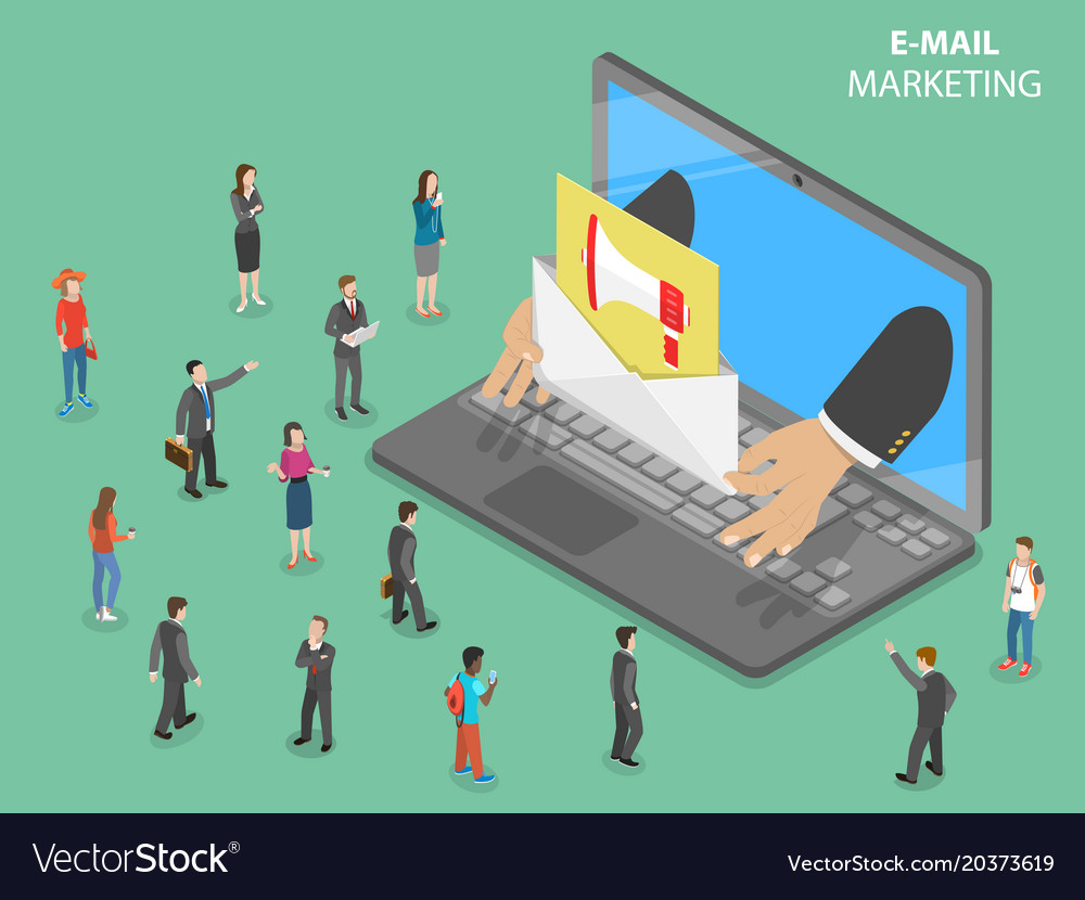 E-mail marketing flat isometric concept vector image