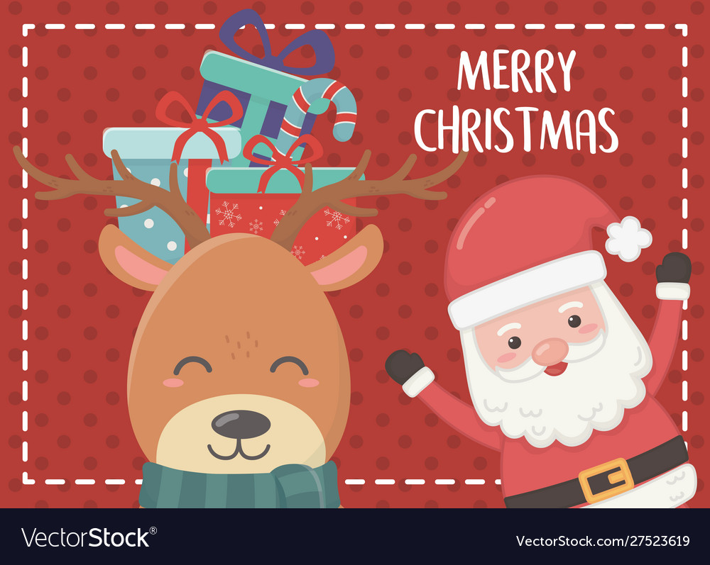 Gifts in head deer and santa merry christmas card