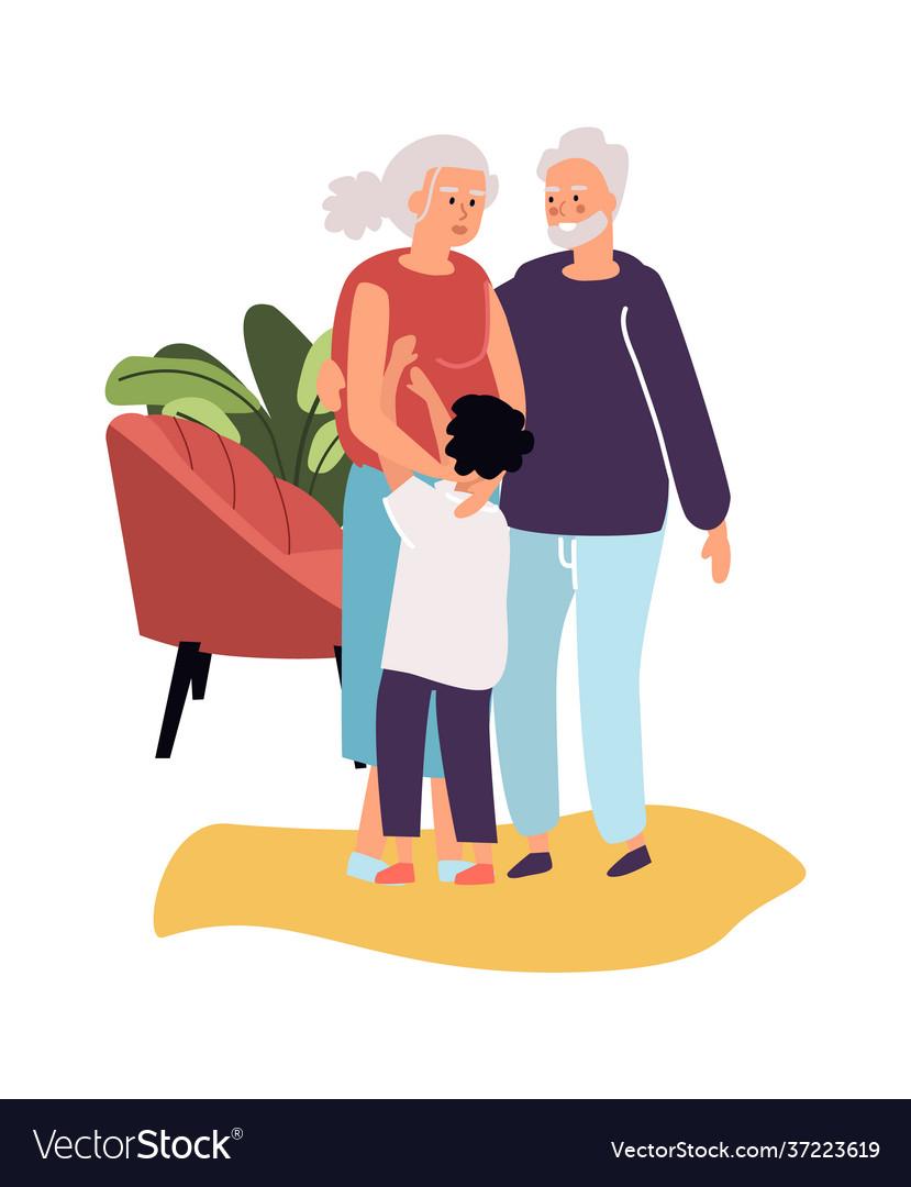 Grandparents with grandson cartoon grandma