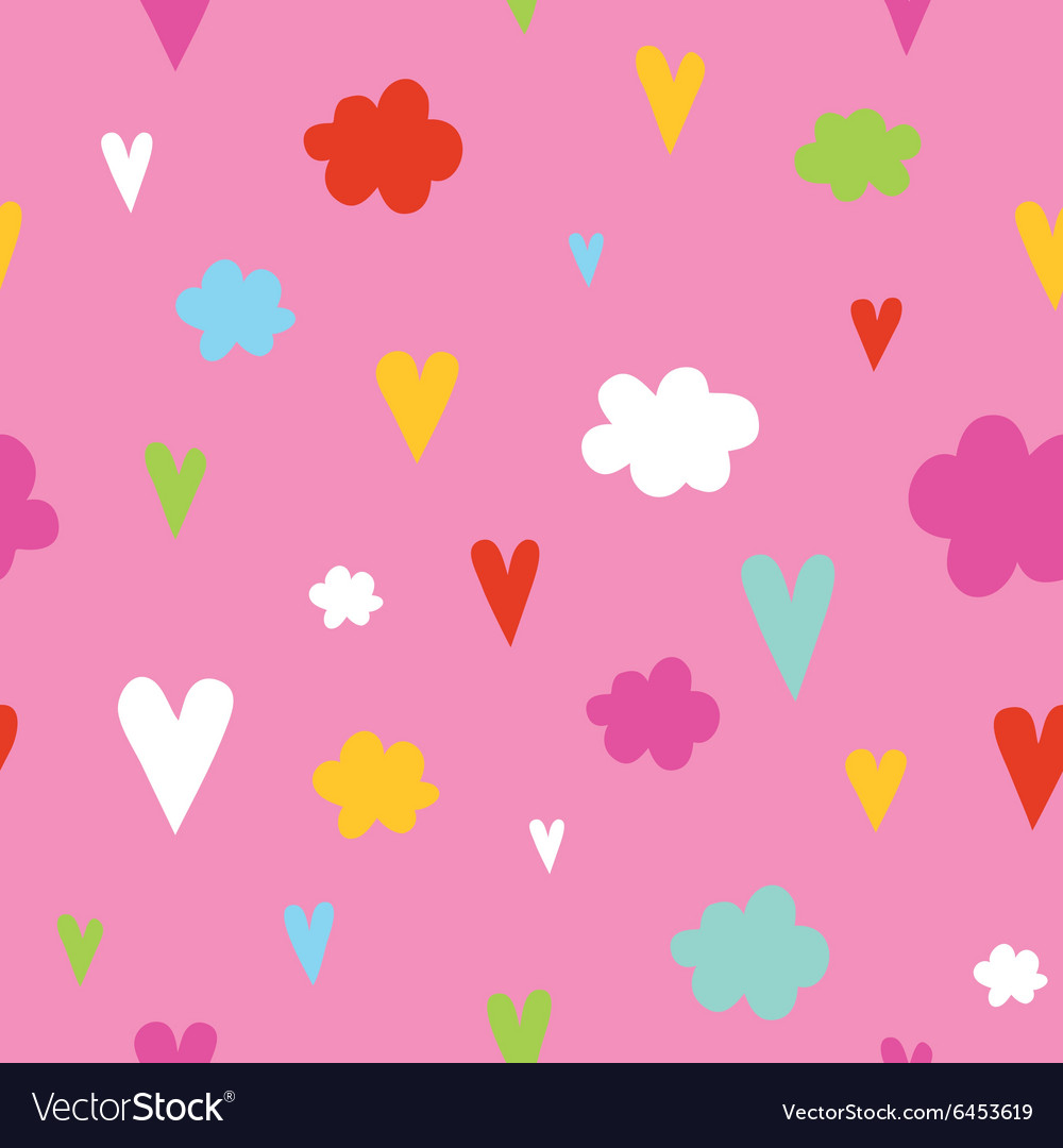 Hand drawn hearts and clouds seamless