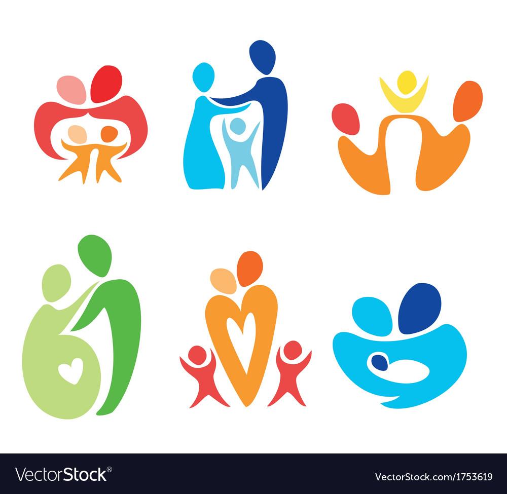 Happy family icons set