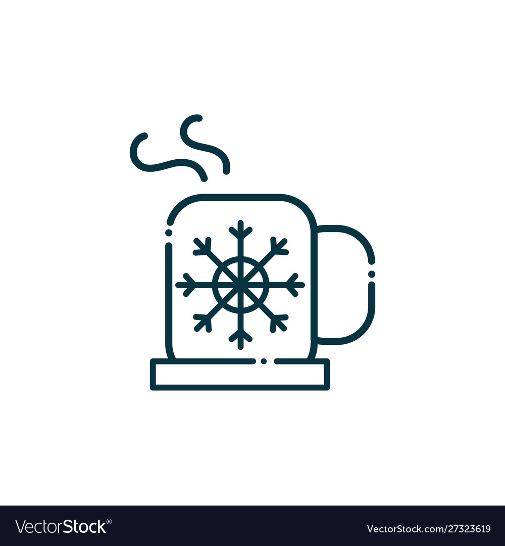 Hot coffee cup happy christmas line icon
