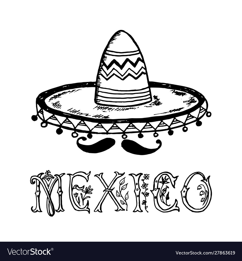 Mexican sombrero hat traditional national