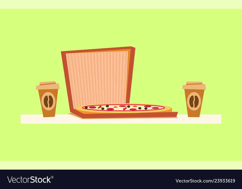Pizza delivery italian food on box coffee drink