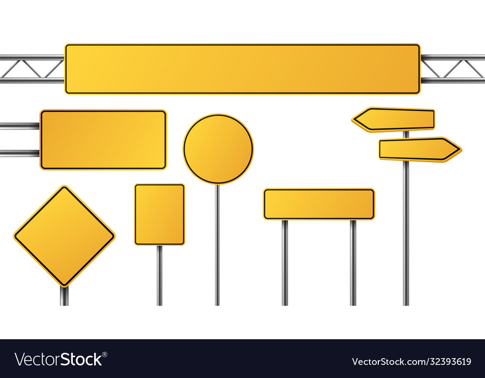 Realistic yellow road sign isolated signal tables