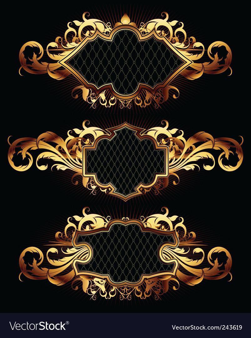 Set of golden frames vector image