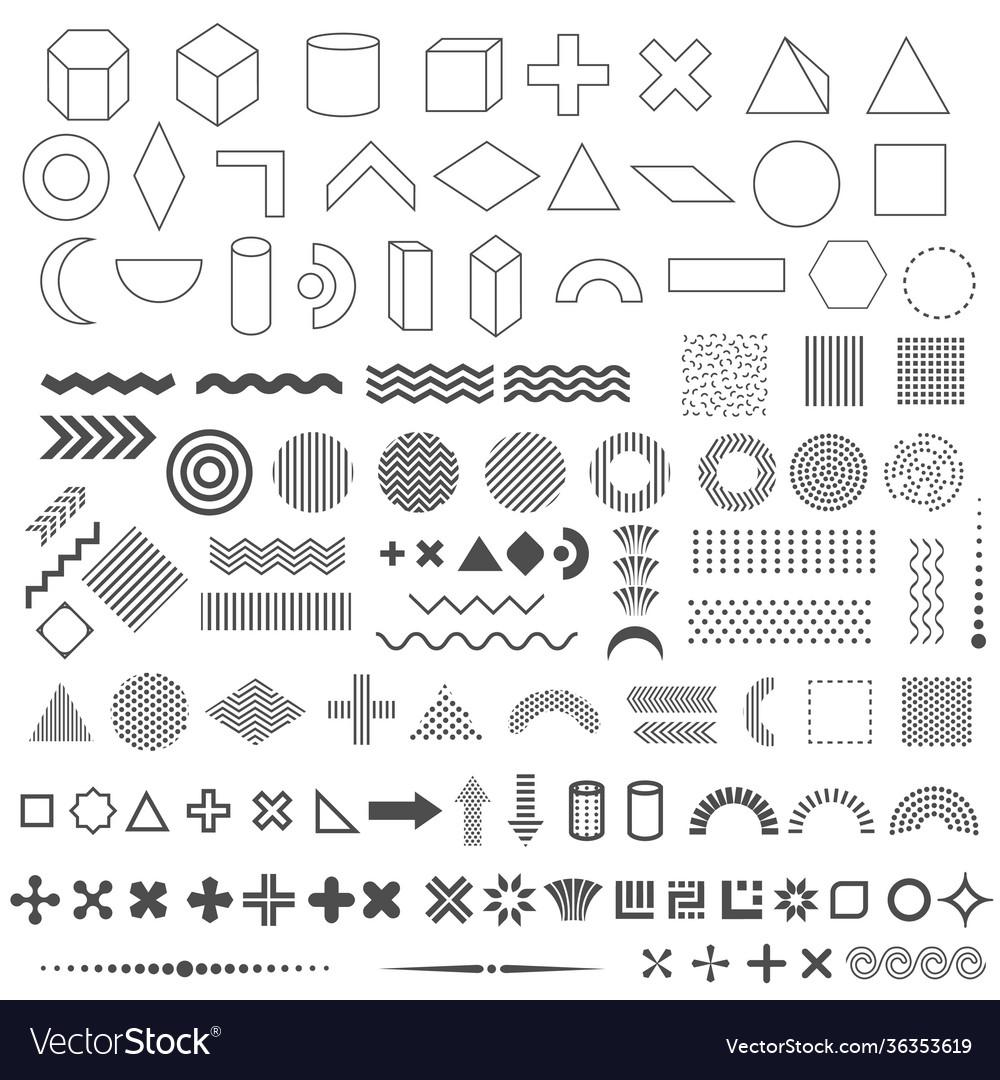 Trendy geometric shapes set 110 elements
