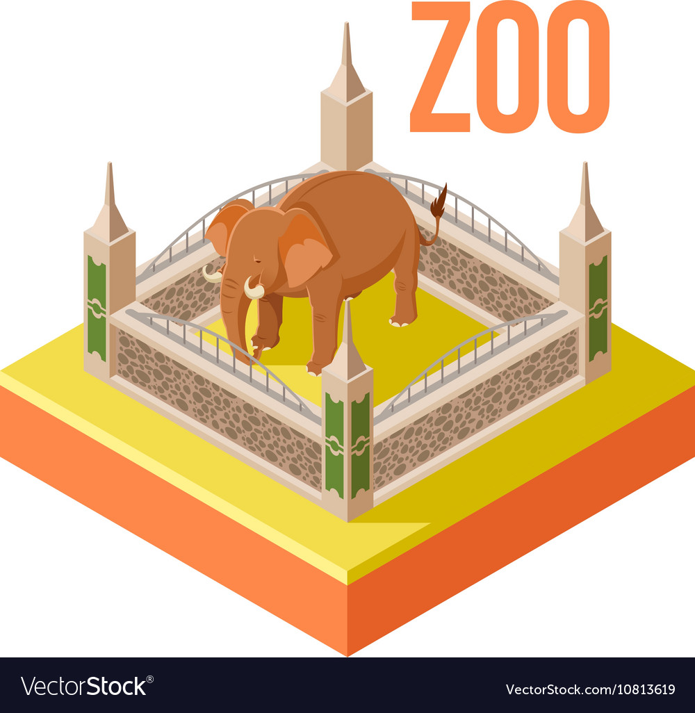 Zoo Elephant isometric icon vector image