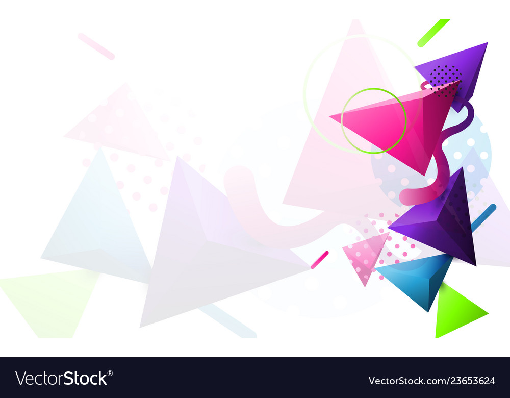 Abstract colorful 3d triangle and minimal modern