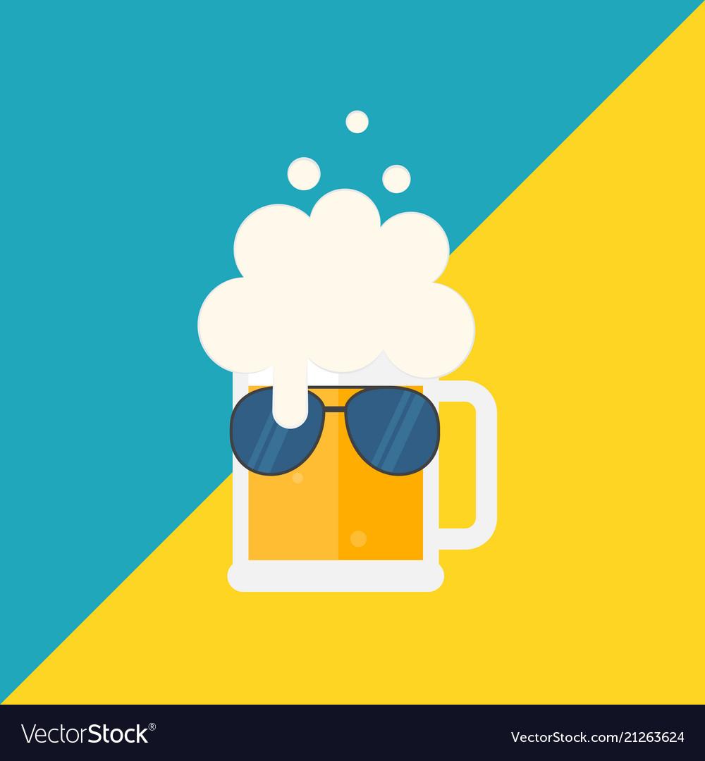 Beer mug with foam and sunglasses