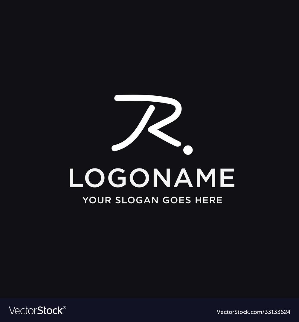 Brush line letter r logo icon template