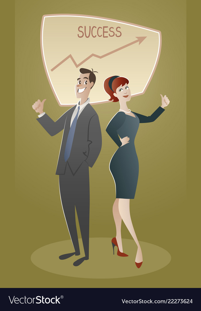 Business man and woman proud of their success