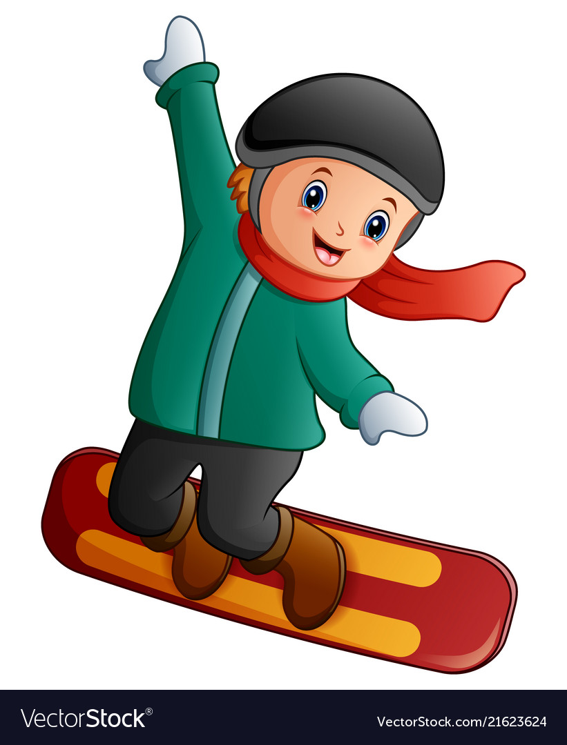 Cartoon Boy With Snowboard Royalty Free Vector Image