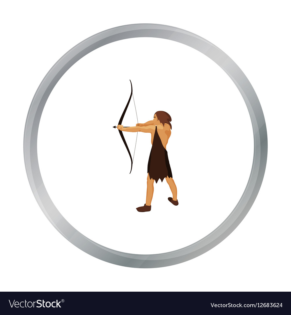 Caveman with bow and arrow icon in cartoon style