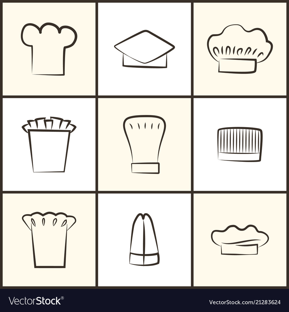 Chef hats of all designs monochrome sketches set