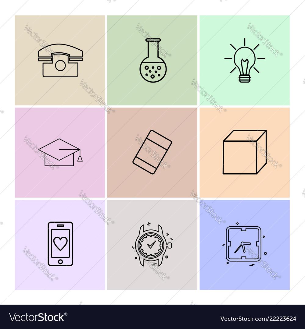 Convocation cube idea bulb beaker watch vector image on VectorStock