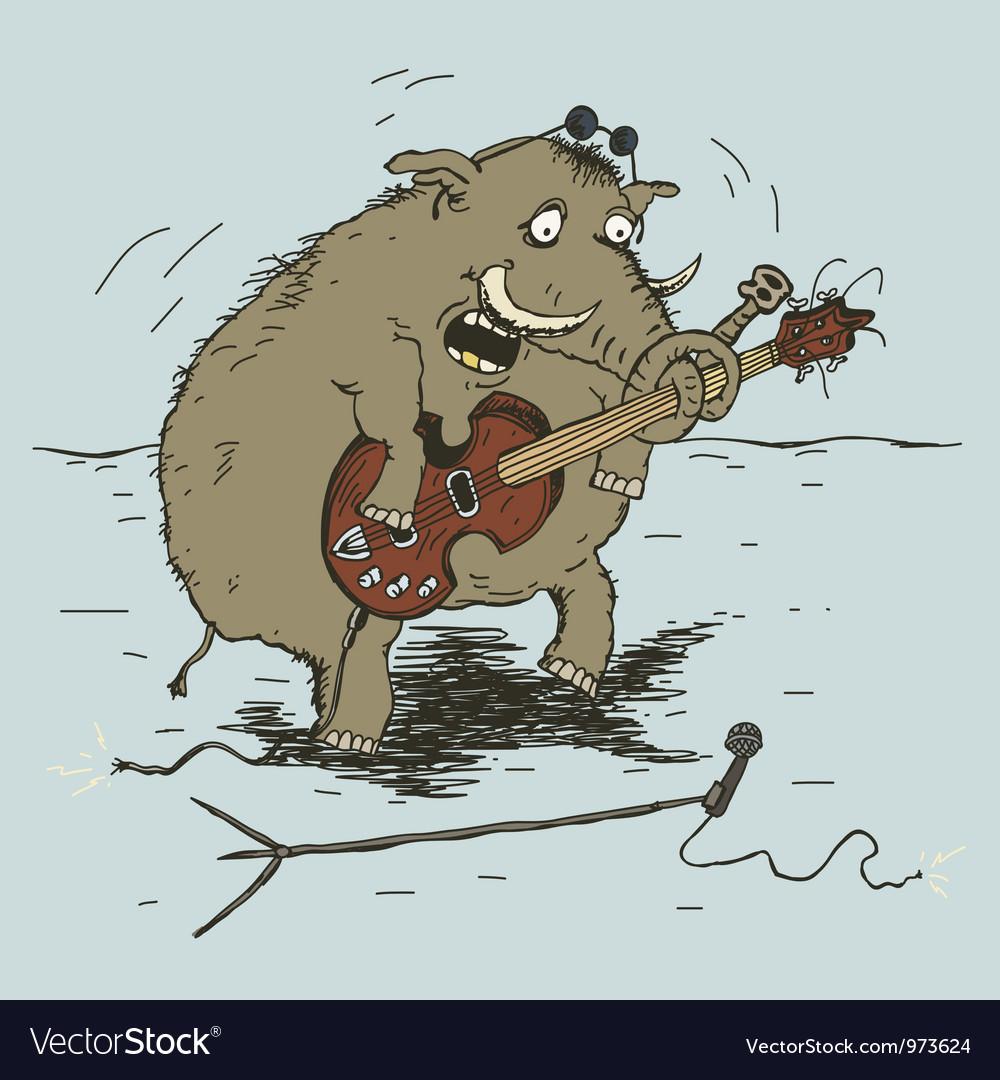 Elephant playing guitar