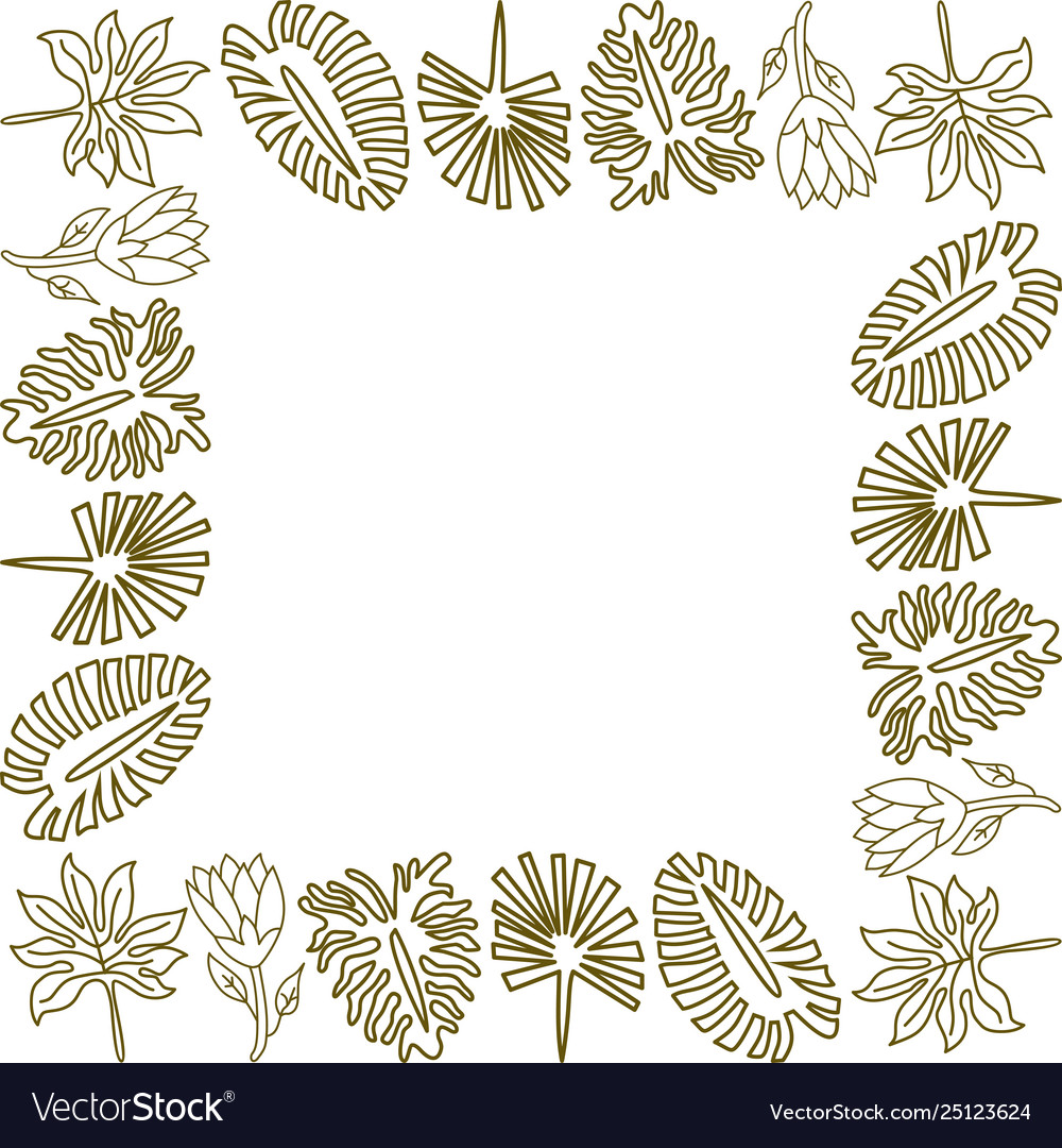 Flower leaf frame empty template